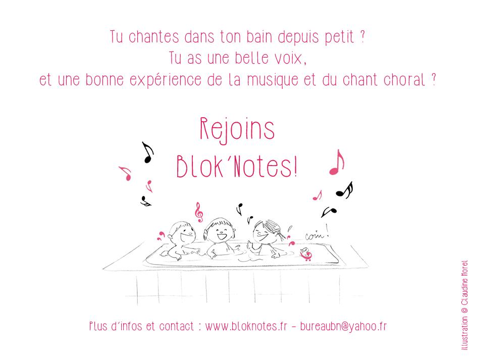 La chorale lyonnaise blok'notes recrute des choristes.